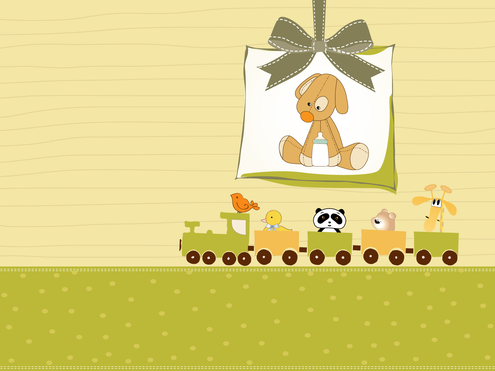 Baby Background Image, Cute Animals, Toys, Train #703
