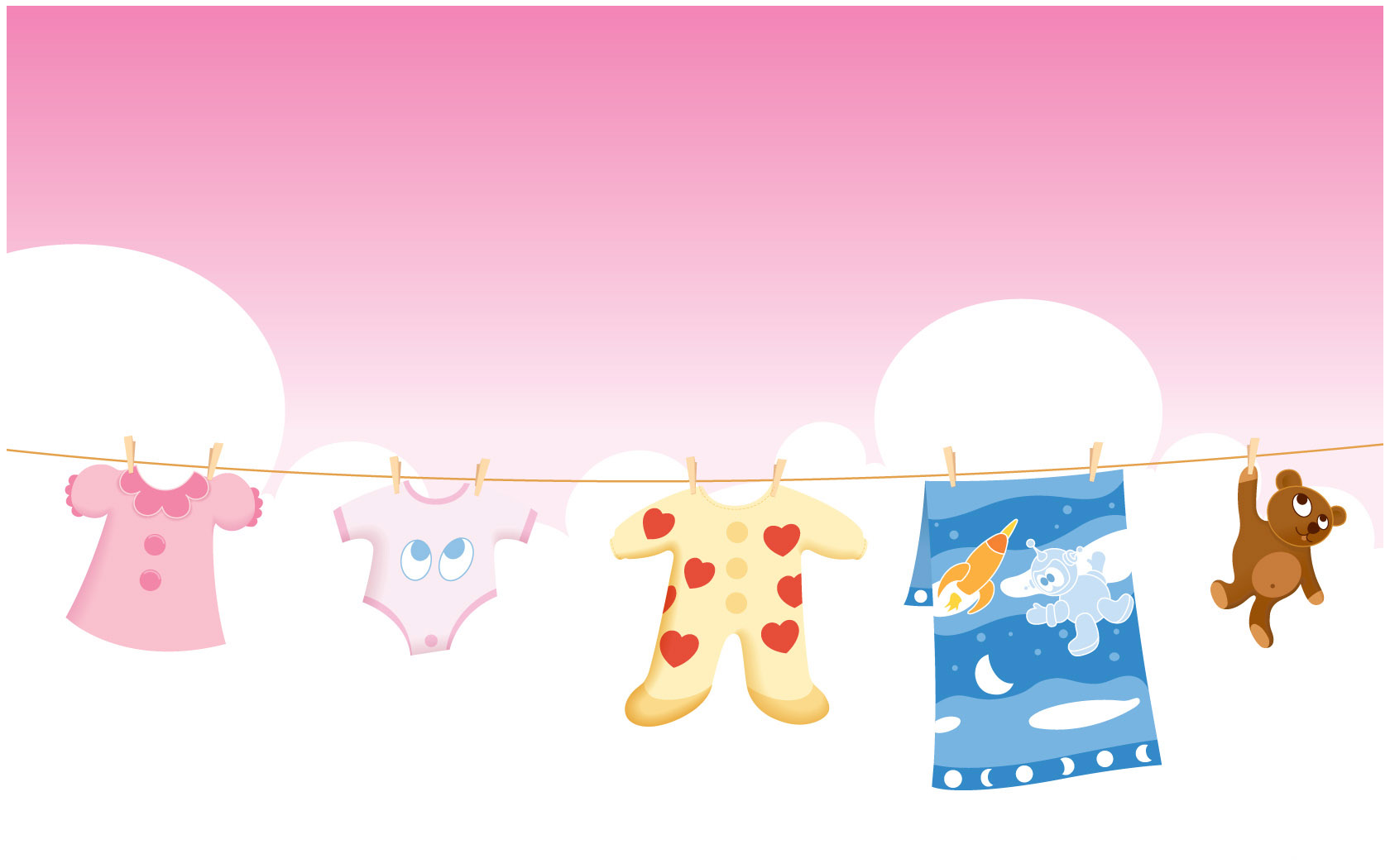 Baby Clothes, Sky, Pink Background, Baby Background Powerpoint Template #699