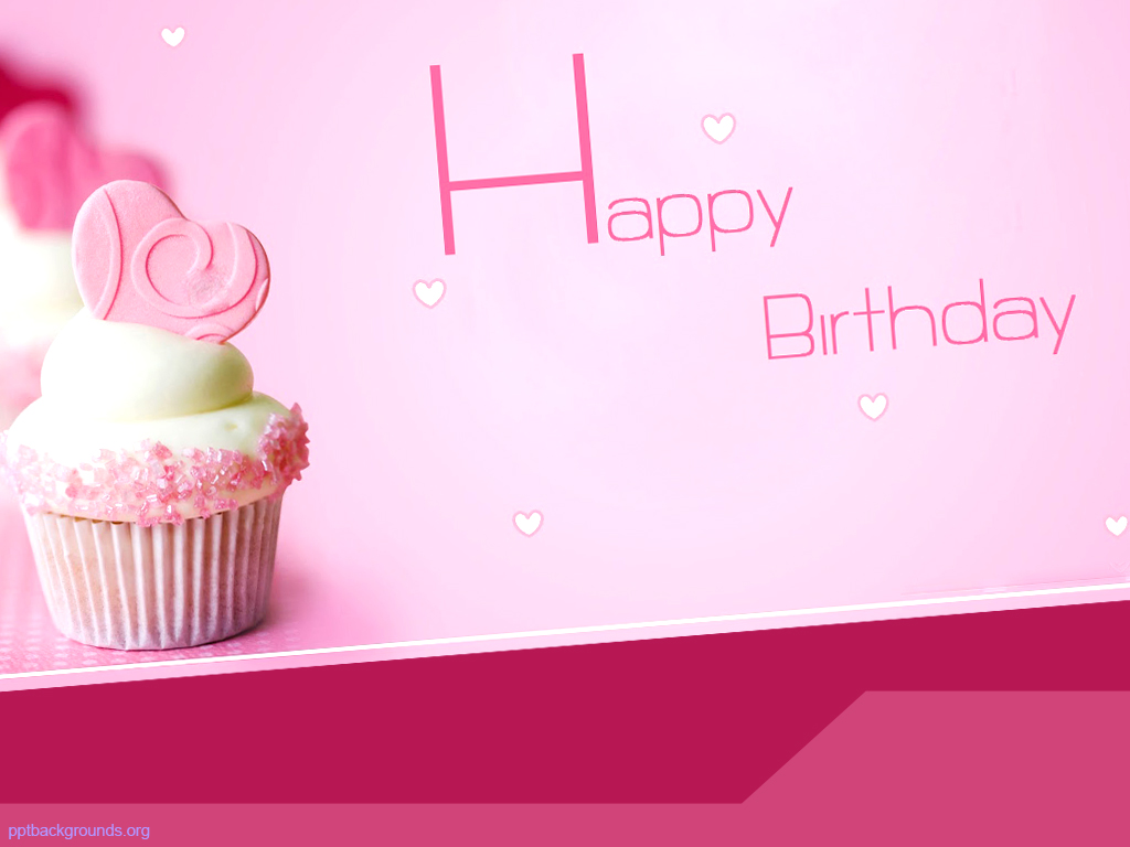 Birthday Cake, Pink Background, Powerpoint Theme Birthday #714