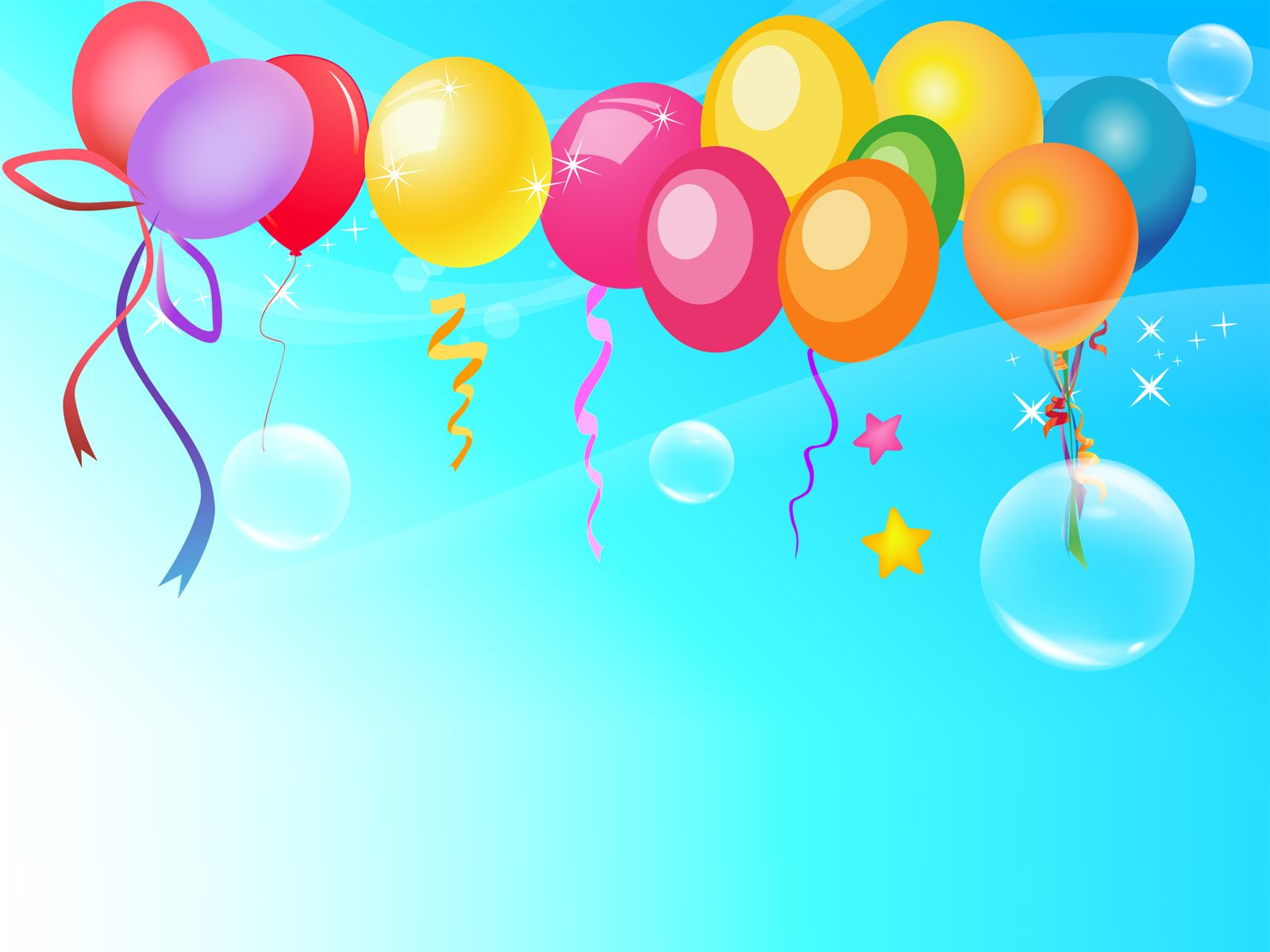 Colorful Balloons On Blue Background PowerPoint Template #725