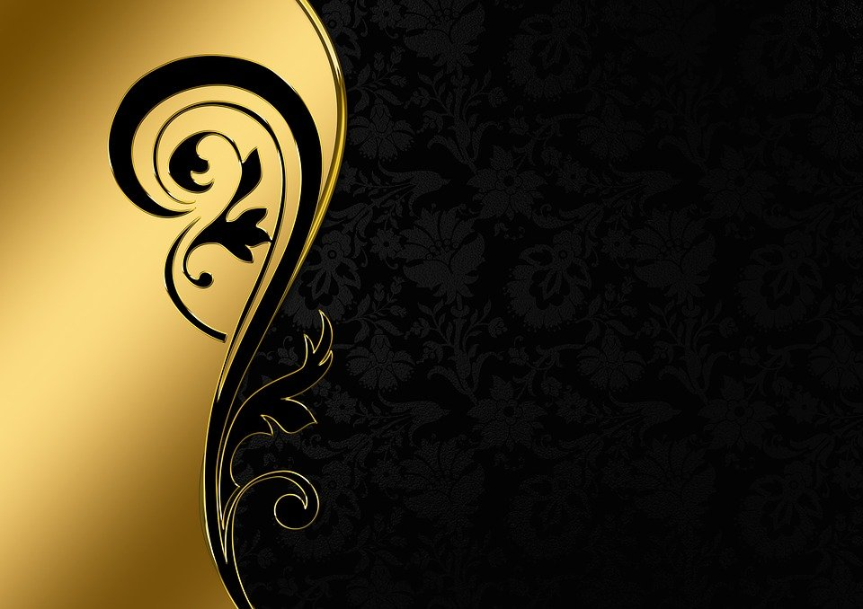 abstract floral wavy black and gold ppt background #5127