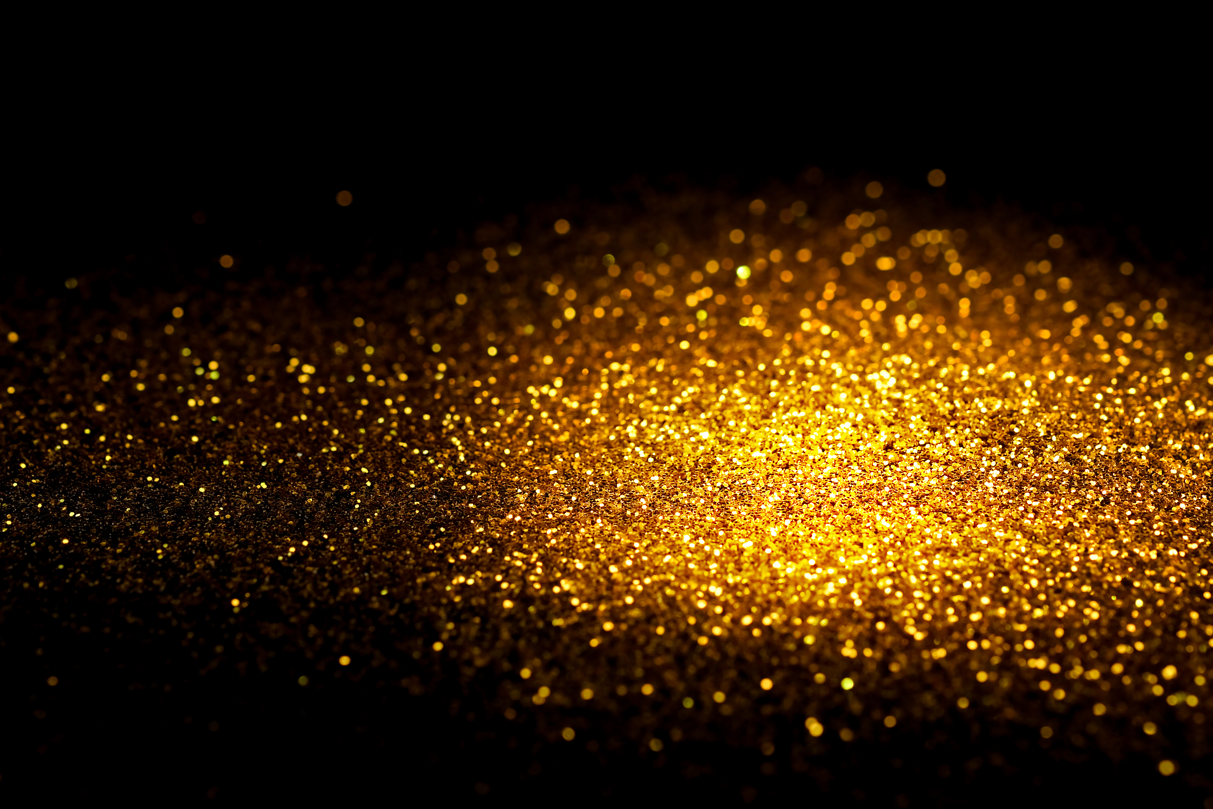 black and gold sprinkle gold glitter dust black background #5108