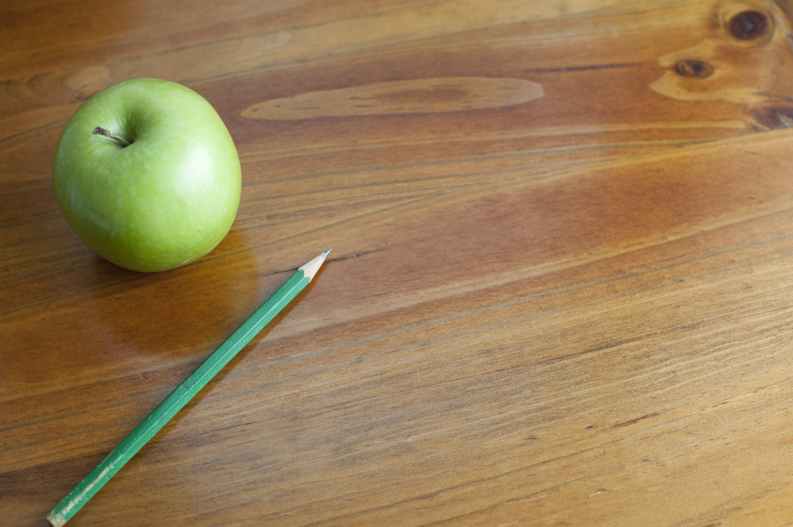 school, student, lecture, success, Pencil and apple on desk wallpapers pictures #2554