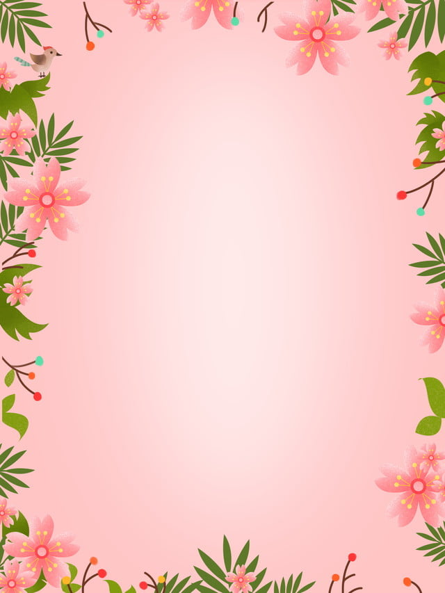 Hand painted fresh pink flower border wallpaper background free #1158