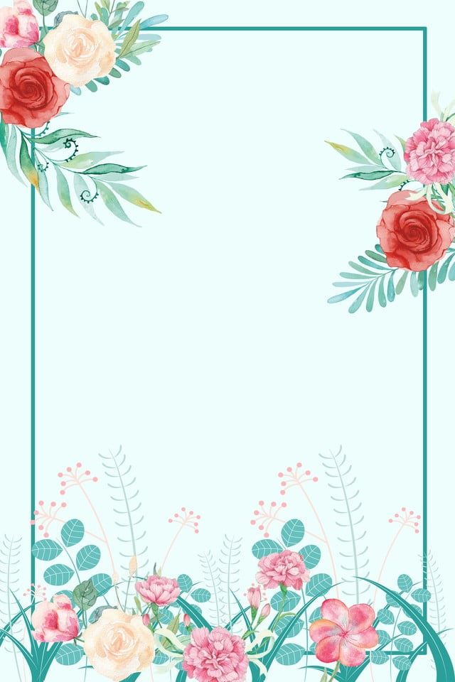 Blue quality flower border wallpapers ppt download, invitation, plant #1155