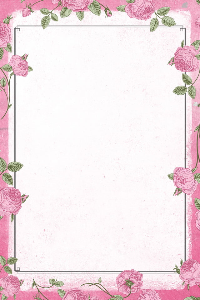 Pink beautiful flower border background picture download, plant, sketch #1174