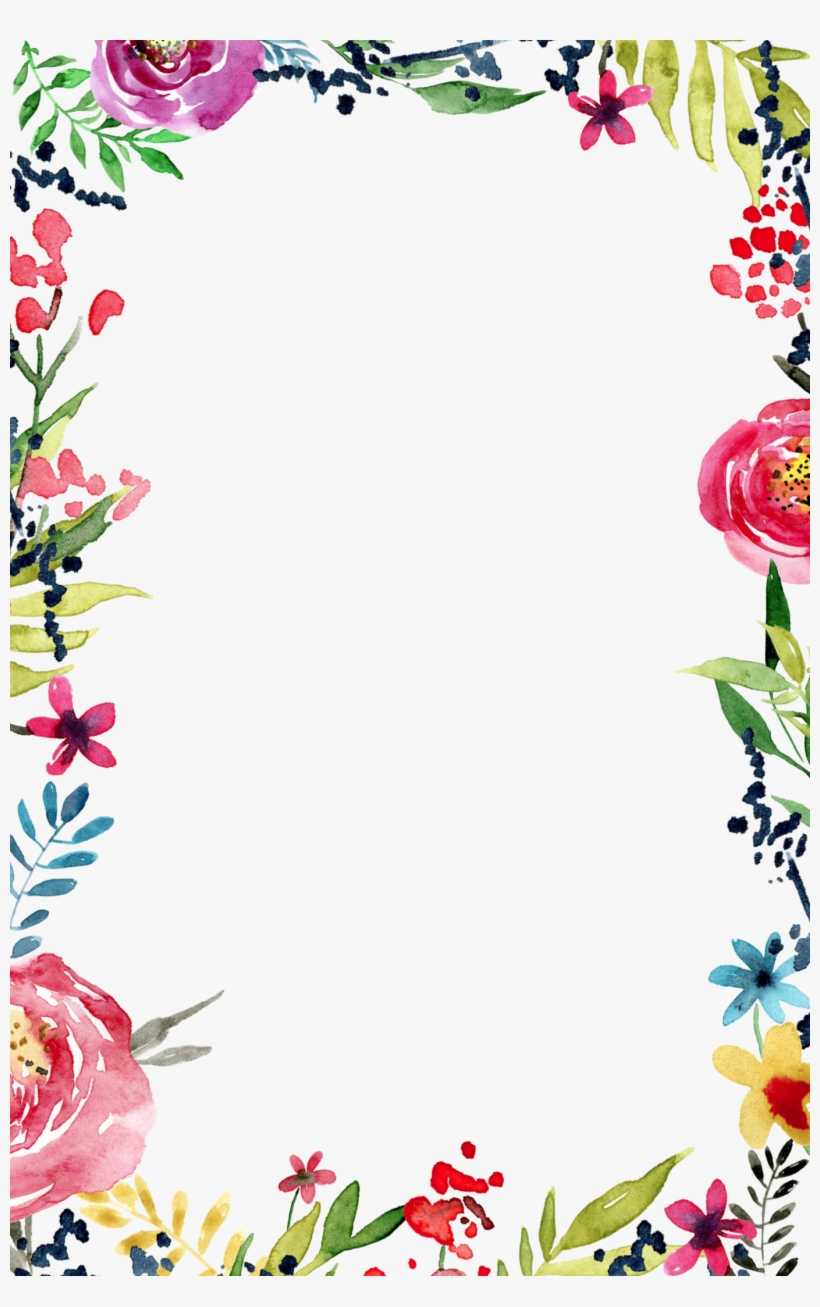 Watercolor drawing flower border download, white background clipart #1153