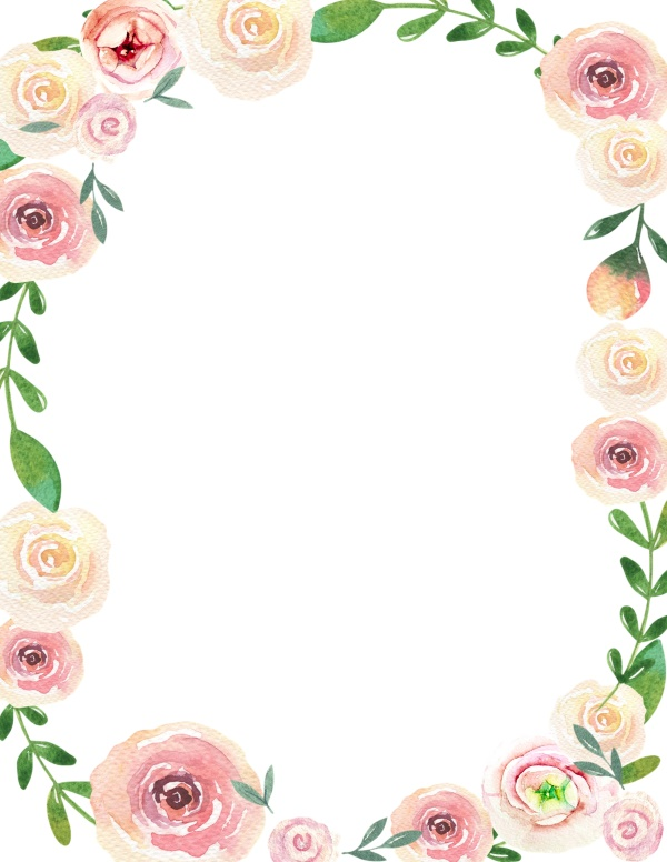 Watercolor rose flower border images wallpapers #1160