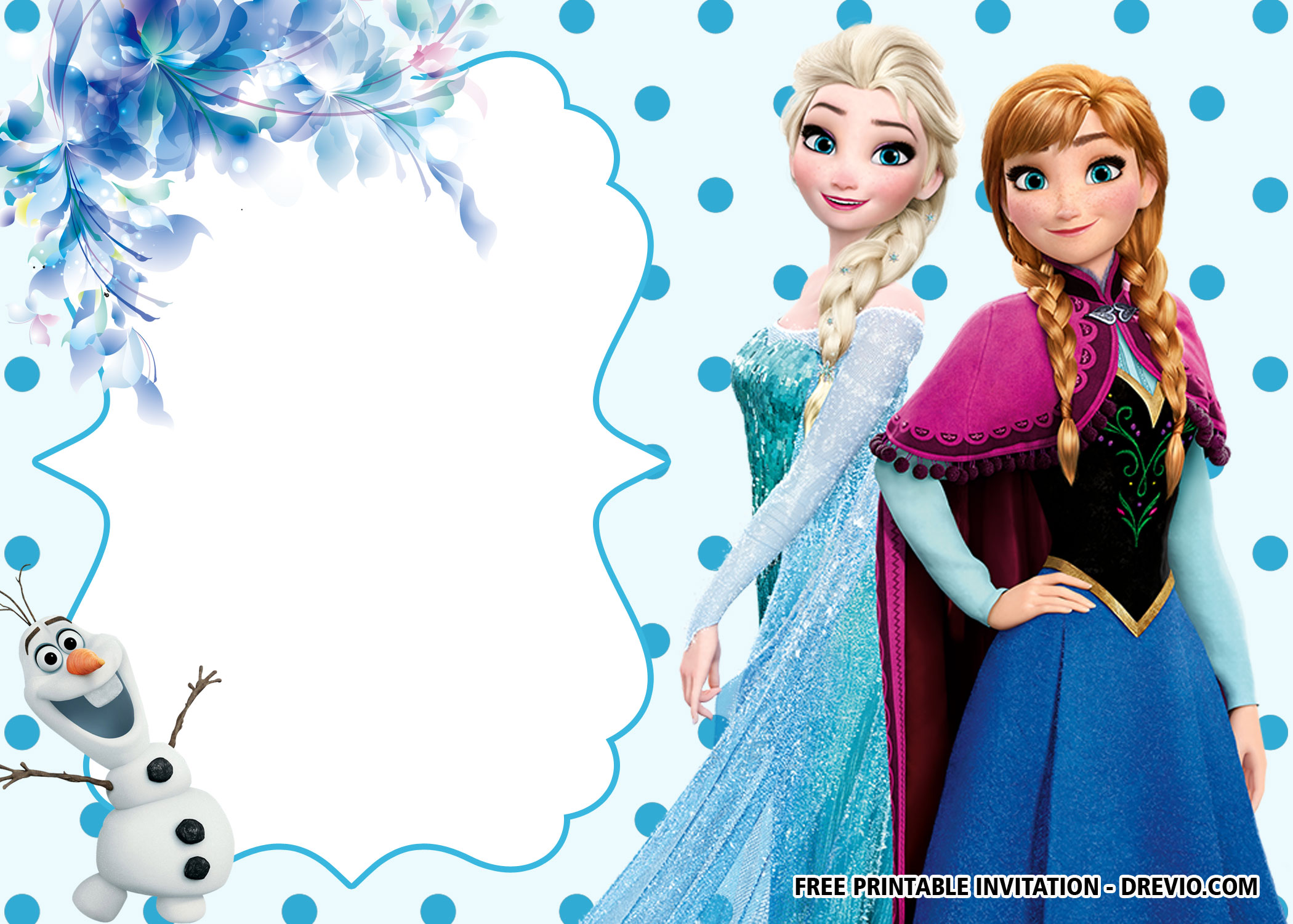 printable polkadots disney frozen invitation template background #5360