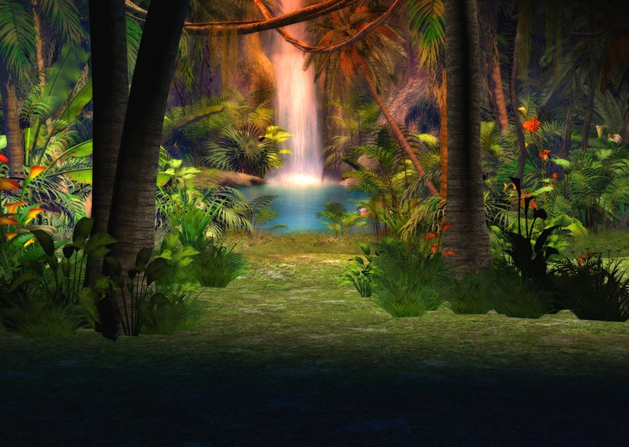 foliage, trees, plants, waterfall and jungle ppt background #4997