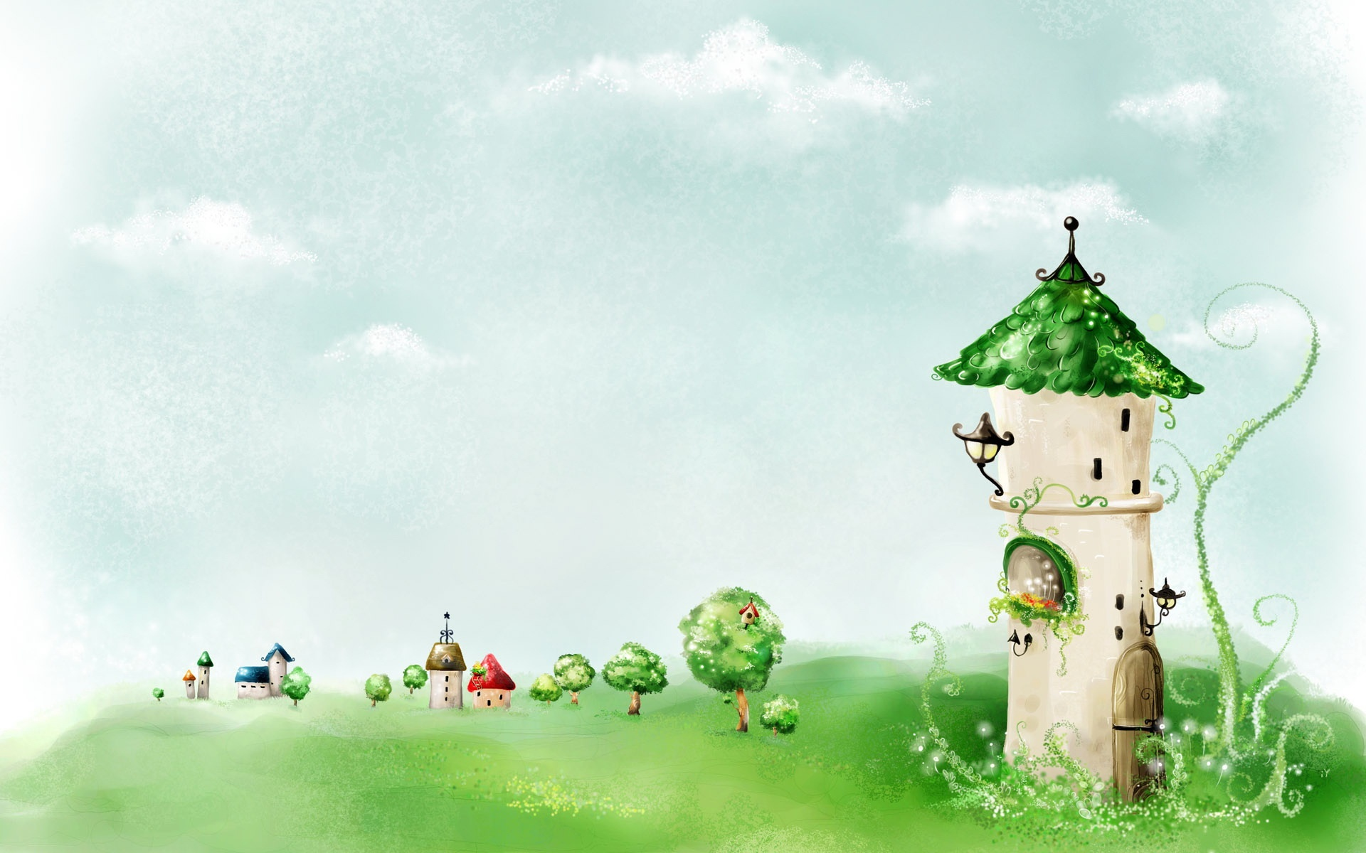 cartoon green tower drawing, kids background hd picture #1475