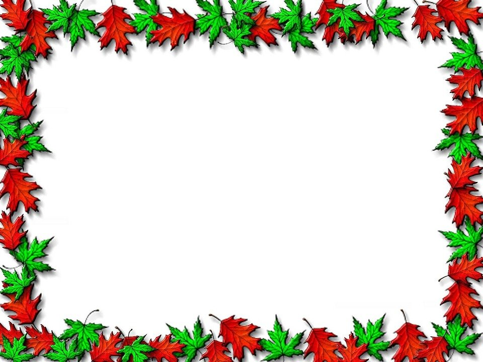 Red and green leaf border ppt background download #2438