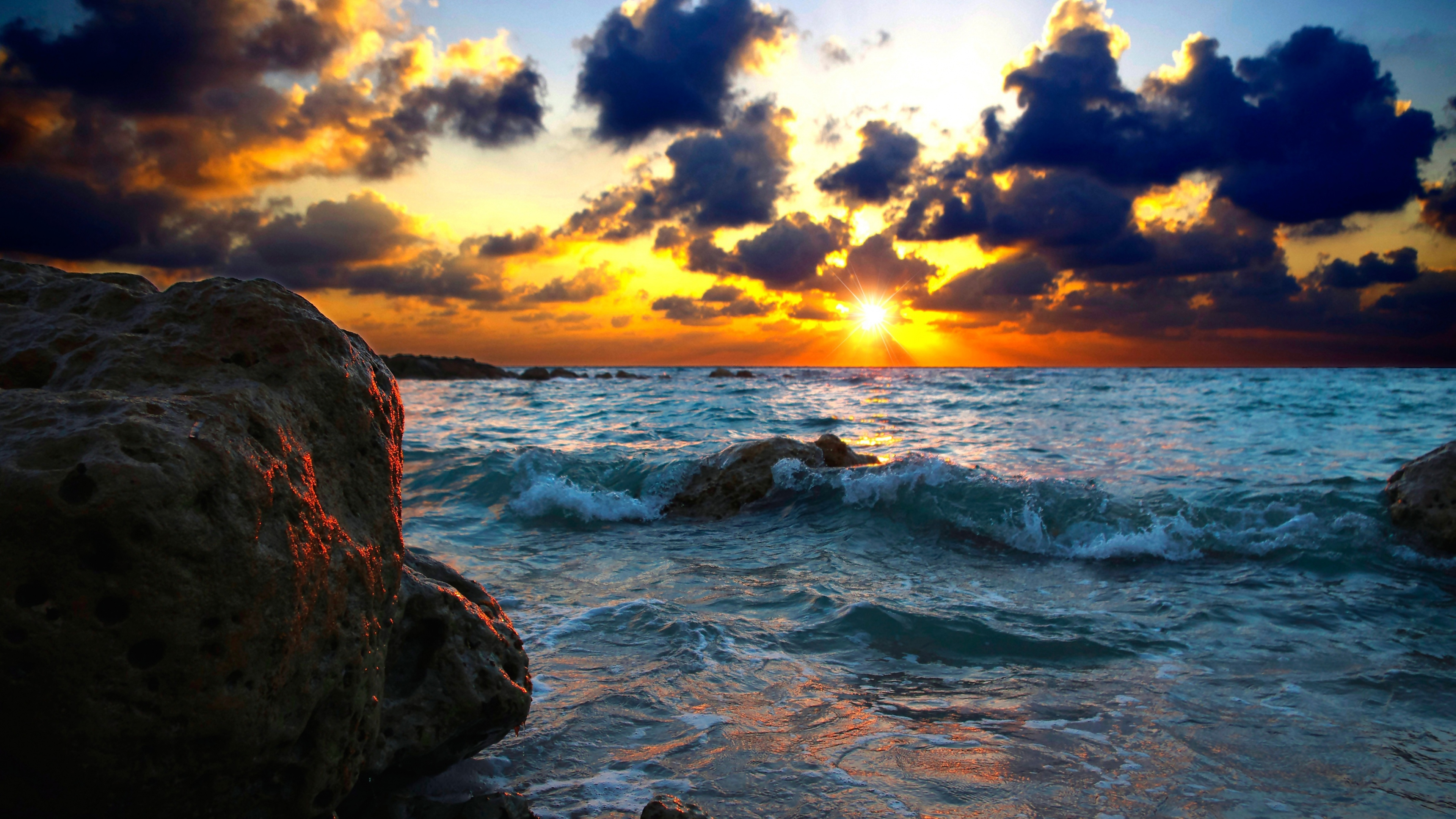 hd sea sunset nature wallpaper #3069