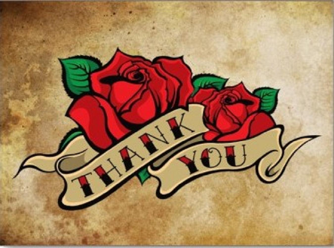 thank you with rose tattoo design #6575