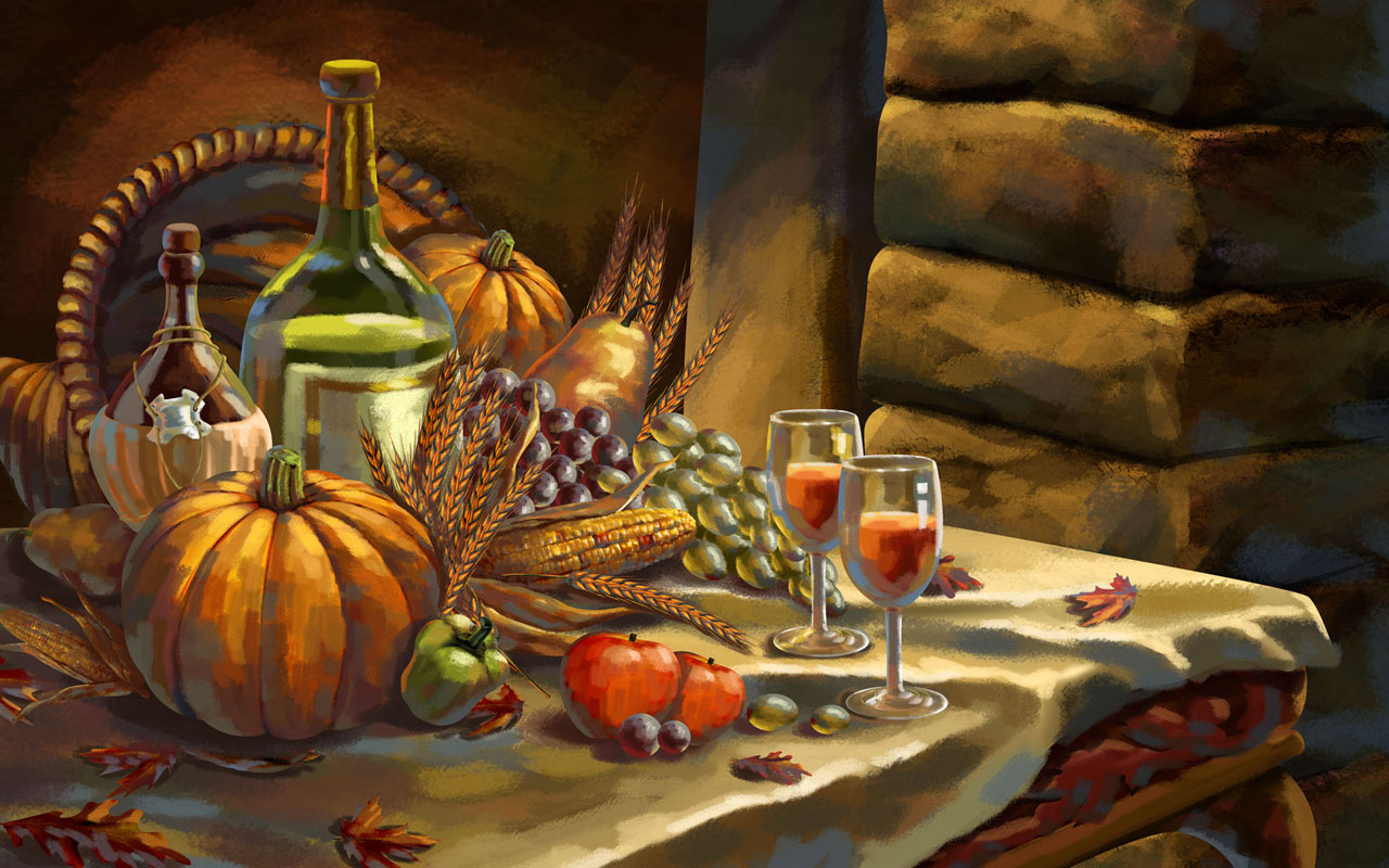 pastel drawing thanksgiving background wallpaper, powerpoint template #1721