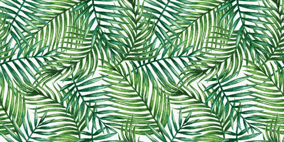 tropical leaves customize vinyl cloth tropical green leaves wallpaper #154