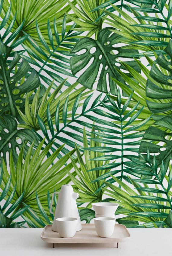 tropical leaves watercolor tropical palm leaves wallpaper #147